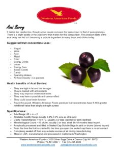 Acai Berry Product Sheet