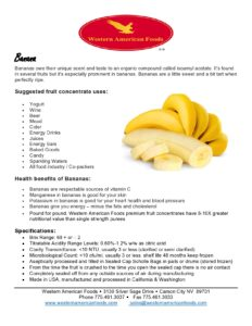 Banana Product Sheet