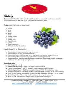 Blueberry Product Sheet