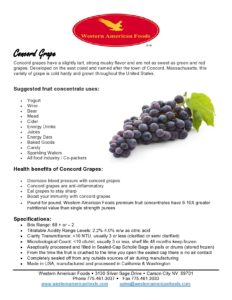 Concord Grape Product Sheet