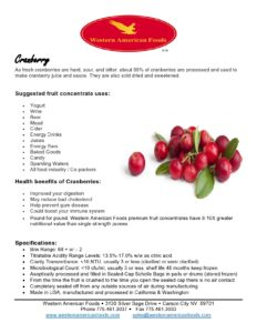 Cranberry Product Sheet