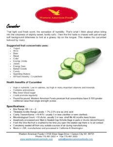 Cucumber Product Sheet