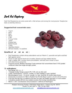 Dark Red Raspberry Product Sheet