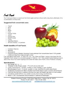 Fruit Punch Product Sheet
