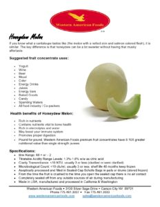 Honeydew Product Sheet