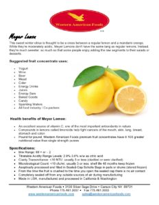 Meyer Lemon Product Sheet