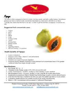Papaya Product Sheet