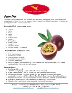 Passion Fruit Product Sheet