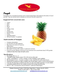 Pineapple Product Sheet