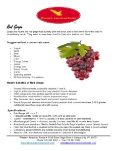 Red Grape Product Sheet