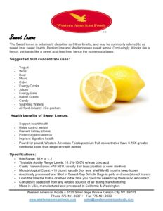 Sweet Lemon Product Sheet