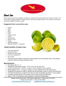 Sweet Lime Product Sheet