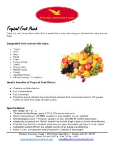 Tropical Fruit Punch Product Sheet