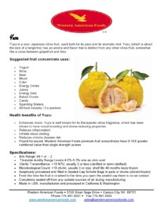 Yuzu Product Sheet